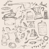 Vector Set of vintage doodle kitchen and cooking Stock Photo