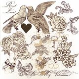 Vector set of vintage elements on love theme Stock Images