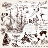 Vector set of vintage elements on marine theme with ship and swi Stock Photos