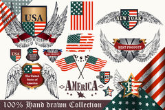 Vector set of vintage elements United States symbols. Big set of vector hand drawn badges and labels USA symbols in vintage style Stock Photos