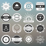 Vector set: vintage fathers day labels and icons on the blurred. Background illustration Stock Photos