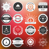 Vector set: vintage fathers day labels and icons on the blurred. Background. illustration Royalty Free Stock Photography