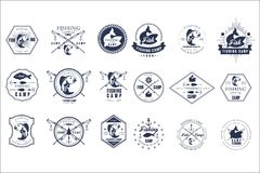 Vector set of vintage fishing camp logo or tournament emblem templates. Original monochrome labels with fishes and fish. Collection of vintage fishing camp logo stock illustration