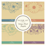 Vector set of vintage floral background. Vector set of vintage floral templates with linear flover illustration and polka dot background Royalty Free Stock Photo