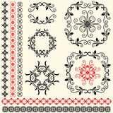 Vector set of vintage floral design elements Royalty Free Stock Photography