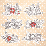 Vector set with vintage flowers composition.Polka dot background Royalty Free Stock Images