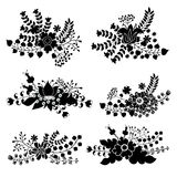 Vector set with vintage flowers composition.Silhouettes Stock Image