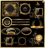 Vector Set Of Vintage Framed Black And Gold Labels Stock Photo
