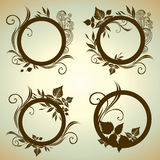Vector set of vintage frames. With Autumn Leafs. Thanksgiving Royalty Free Stock Photos