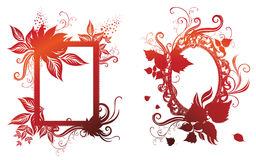 Vector set of vintage frames. With Autumn Leafs. Thanksgiving Royalty Free Stock Photography