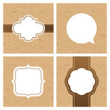 Vector set of vintage frames and banners with craft paper texture.  Royalty Free Stock Image