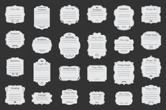 Vector set of vintage frames. Big Vector Set of vintage frames on black background Stock Images