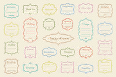 Vector Set of vintage frames. Big Vector Set of vintage frames on retro background Royalty Free Stock Images