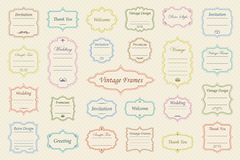Vector Set of vintage frames. Big Vector Set of vintage frames on retro background Royalty Free Stock Image