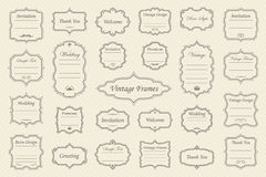 Vector Set of vintage frames. Big Vector Set of vintage frames on retro background Royalty Free Stock Photos