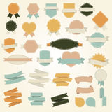 Vector set of Vintage frames, blank retro badges and labels. Stock Photos