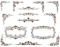 Vector set of vintage frames, borders and corners Stock Photos
