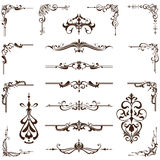 Vector set of vintage frames, borders and corners. Vintage corners and lining Stock Photo
