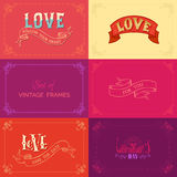 Vector set of vintage frames on coloured backgrounds. Royalty Free Stock Photos