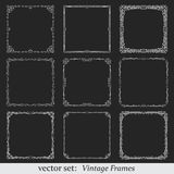 Vector set of vintage frames. On dark background Royalty Free Stock Image