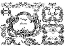 Vector set of vintage frames for design Royalty Free Stock Photos