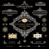 Vector set of vintage frames and design elements. Vector set of vintage frames and design elements: page decoration, Premium Quality antique and baroque Borders Stock Photo