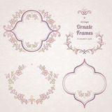 Vector set of vintage frames in Eastern style. Royalty Free Stock Photography
