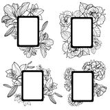 Vector set of vintage frames with flowers Royalty Free Stock Photography