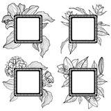 Vector set of vintage frames with flowers Stock Images