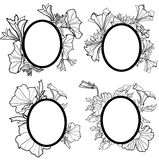 Vector set of vintage frames with flowers - orchid Royalty Free Stock Image