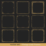 Vector set of vintage frames. Vector set of vintage gold frames on black background Royalty Free Stock Photography