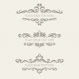 Vector set of vintage frames. On retro background Royalty Free Stock Image