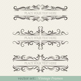 Vector set of vintage frames. On retro background Royalty Free Stock Photos