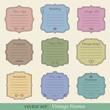 Vector set of vintage frames. On retro background Royalty Free Stock Images