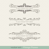 Vector set of vintage frames. On retro background Stock Photo