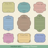 Vector set of vintage frames. On retro background Stock Image