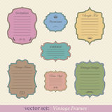 Vector set of vintage frames. On retro background Stock Photography