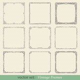 Vector set of vintage frames. On retro background Stock Photos