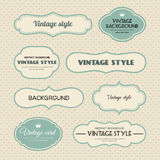 Vector set of vintage frames. Stock Image