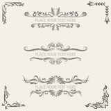Vector set of vintage frames. And scroll elements on retro background Royalty Free Stock Images
