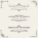 Vector set of vintage frames. And scroll elements on retro background Royalty Free Stock Photography