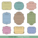 Vector set of vintage frames. On white background Royalty Free Stock Photo