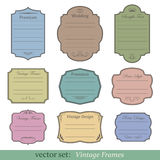 Vector set of vintage frames. On white background Royalty Free Stock Image