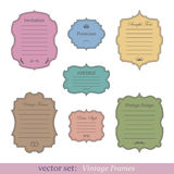 Vector set of vintage frames. On white background Stock Photos