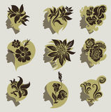 Vector set of vintage girls hair with flowers Royalty Free Stock Photo