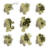 Vector set of vintage girls hair with flowers Royalty Free Stock Photos