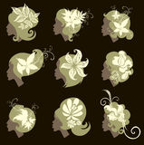 Vector set of vintage girls hair with flowers Stock Image
