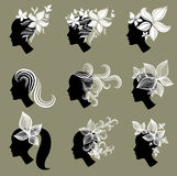 Vector set of vintage girls hair from leafs Royalty Free Stock Image