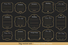 Vector Set of vintage gold frames. Big Vector Set of vintage gold frames on black background Royalty Free Stock Photos