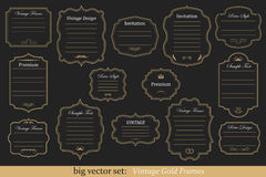 Vector Set of vintage gold frames. Big Vector Set of vintage gold frames on black background Stock Photos